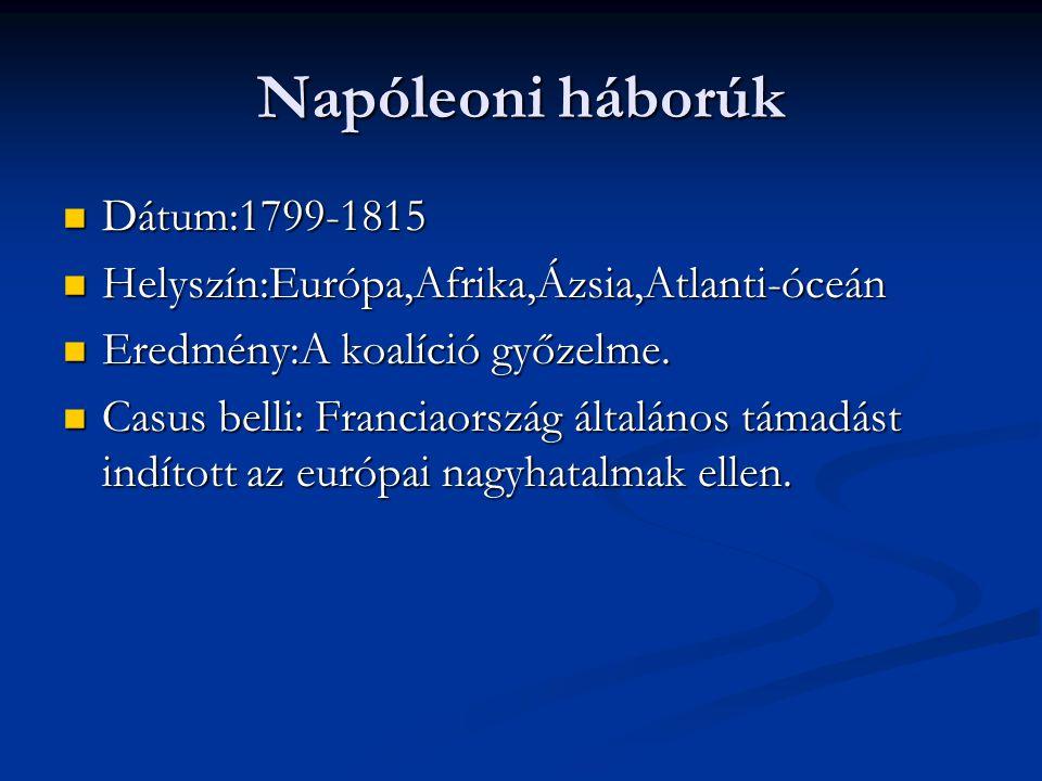 Napóleoni háborúk Dátum:1799-1815