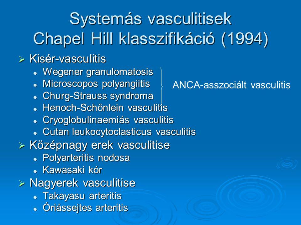 Systemás vasculitisek Chapel Hill klasszifikáció (1994)