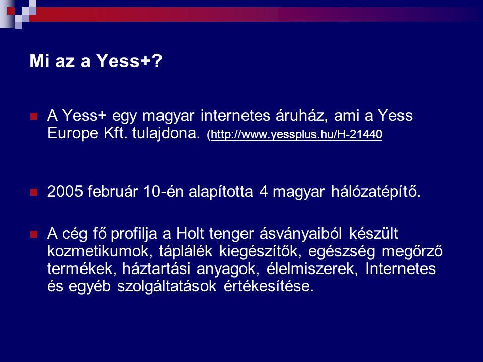 Mi az a Yess+ A Yess+ egy magyar internetes áruház, ami a Yess Europe Kft. tulajdona. (http://www.yessplus.hu/H-21440.