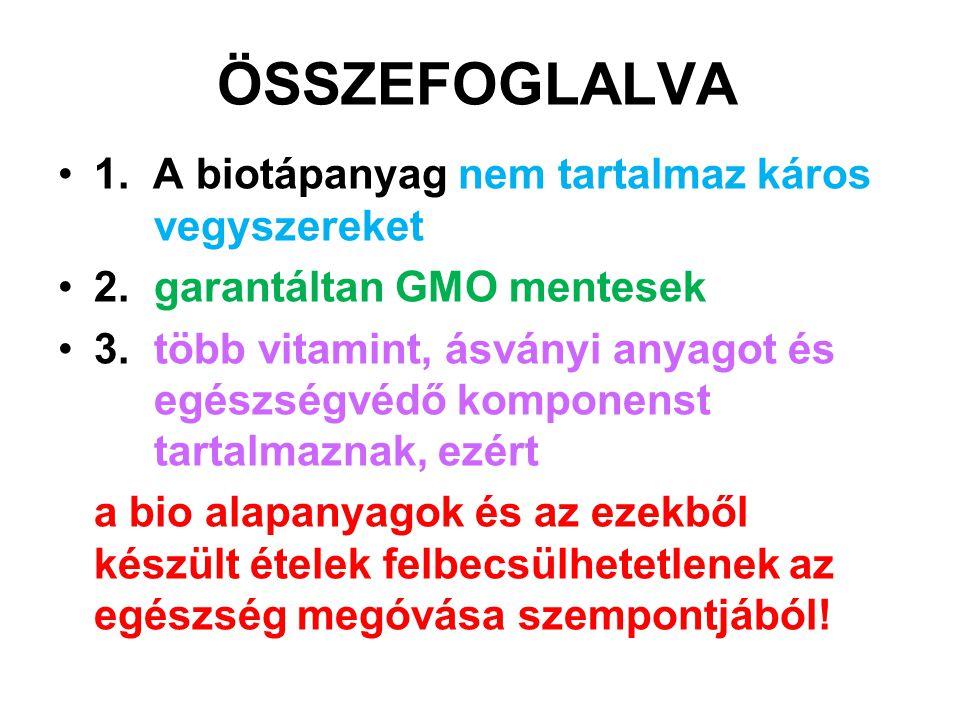 ÖSSZEFOGLALVA 1. A biotápanyag nem tartalmaz káros vegyszereket
