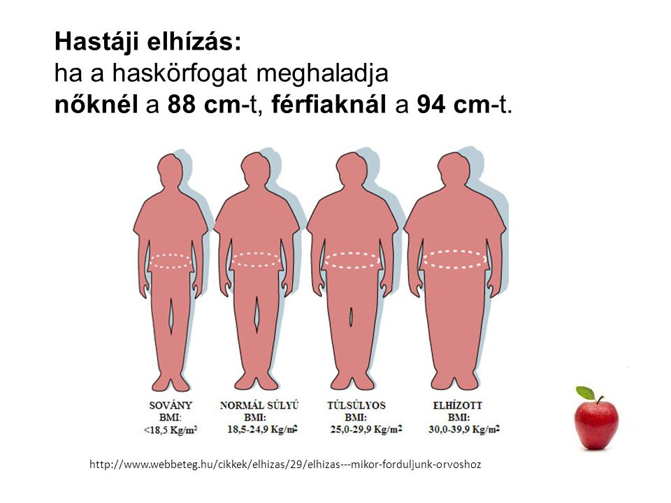 ha a haskörfogat meghaladja nőknél a 88 cm-t, férfiaknál a 94 cm-t.