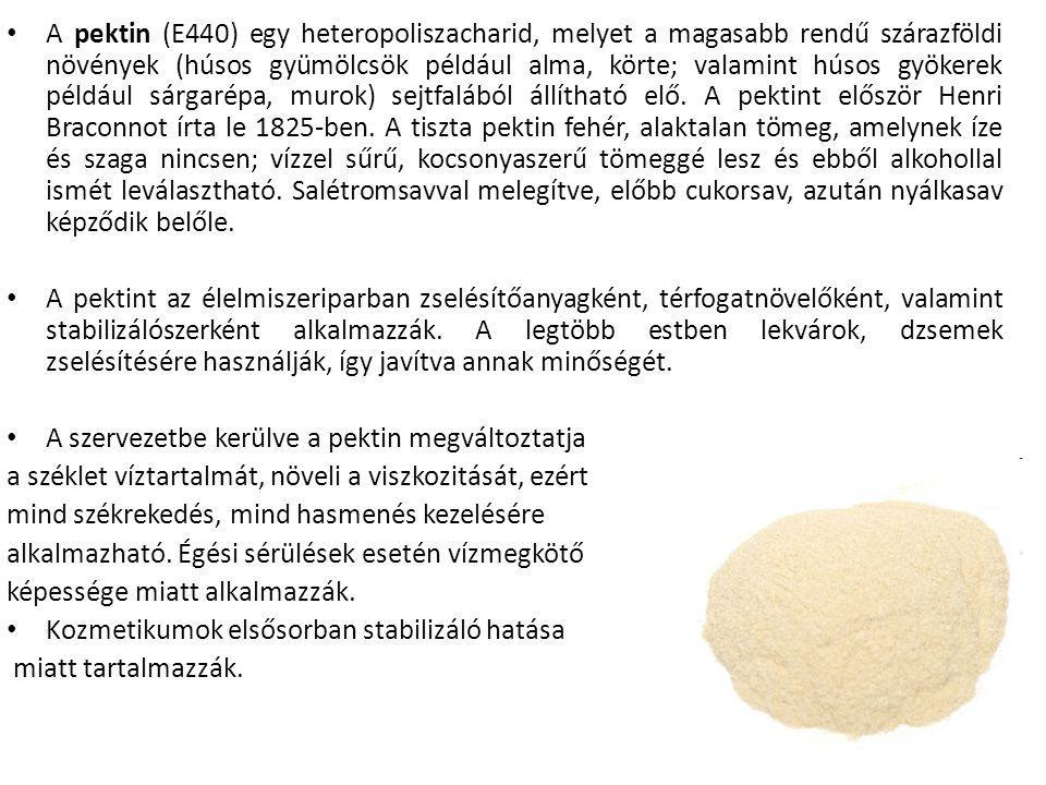 A pektin (E440) egy heteropoliszacharid, melyet a magasabb rendű szárazföldi növények (húsos gyümölcsök például alma, körte; valamint húsos gyökerek például sárgarépa, murok) sejtfalából állítható elő. A pektint először Henri Braconnot írta le 1825-ben. A tiszta pektin fehér, alaktalan tömeg, amelynek íze és szaga nincsen; vízzel sűrű, kocsonyaszerű tömeggé lesz és ebből alkohollal ismét leválasztható. Salétromsavval melegítve, előbb cukorsav, azután nyálkasav képződik belőle.