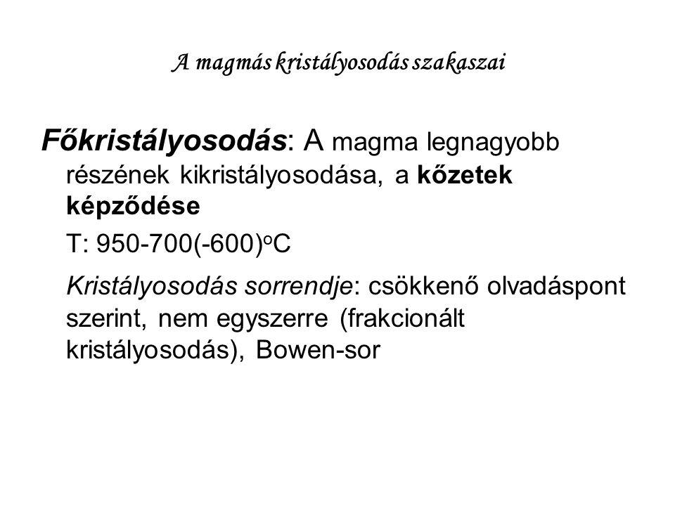 A magmás kristályosodás szakaszai