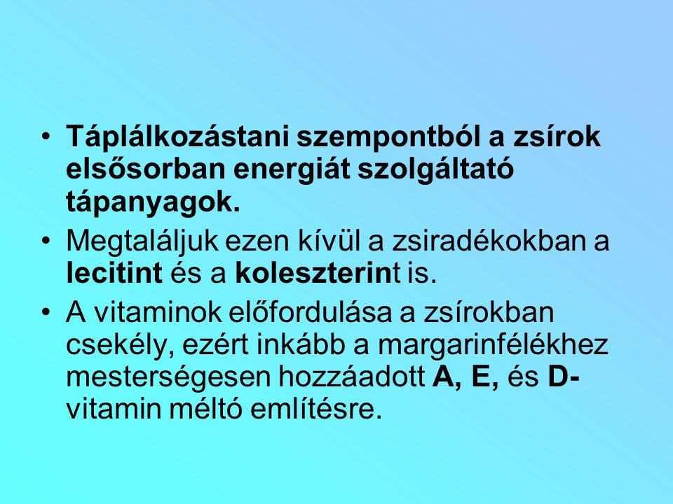 Táplálkozástani szempontból a zsírok elsősorban energiát szolgáltató tápanyagok.