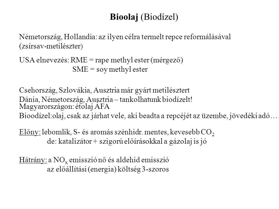 Bioolaj (Biodízel) Németország, Hollandia: az ilyen célra termelt repce reformálásával. (zsírsav-metilészter)
