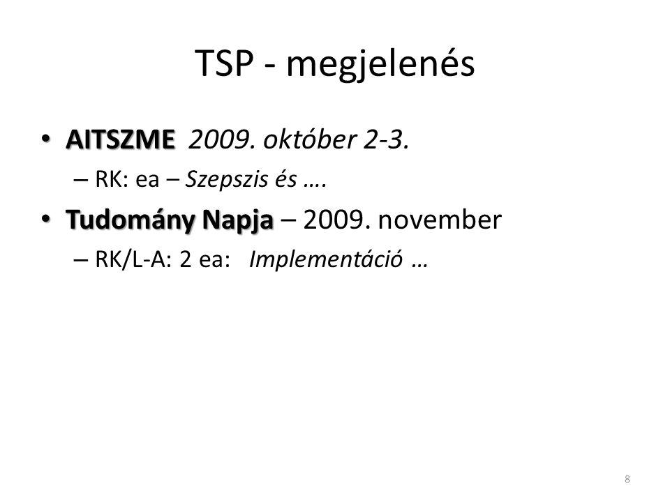 TSP - megjelenés AITSZME 2009. október 2-3.