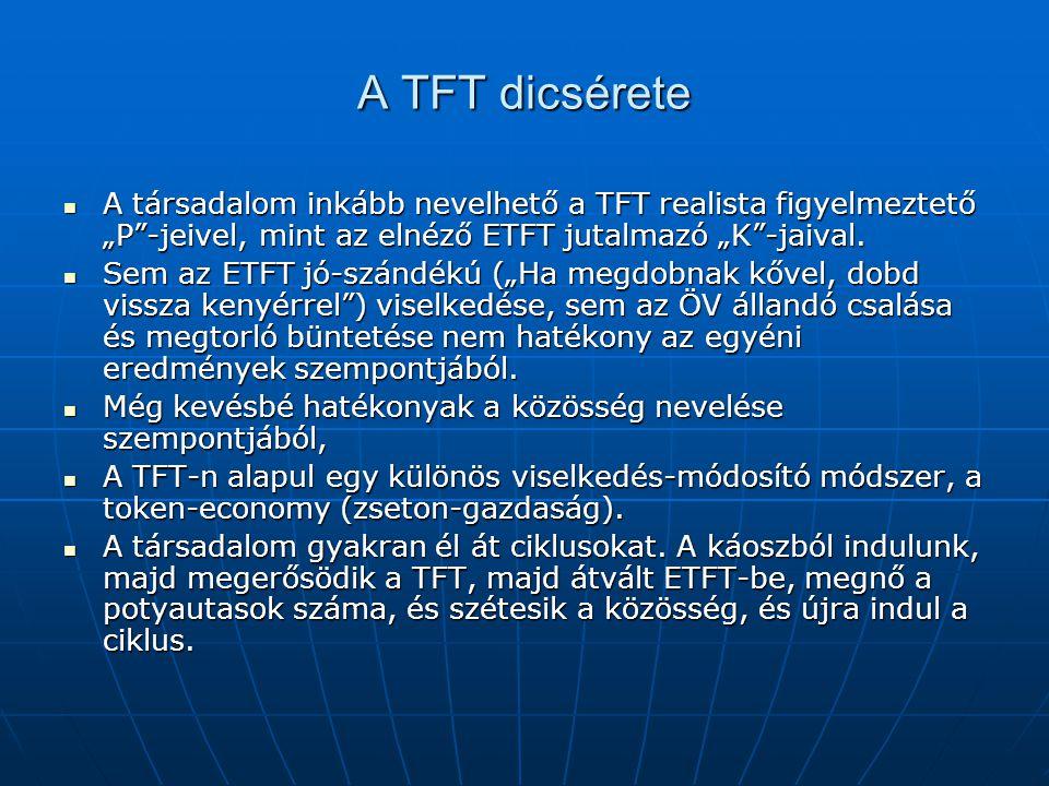 """A TFT dicsérete A társadalom inkább nevelhető a TFT realista figyelmeztető """"P -jeivel, mint az elnéző ETFT jutalmazó """"K -jaival."""