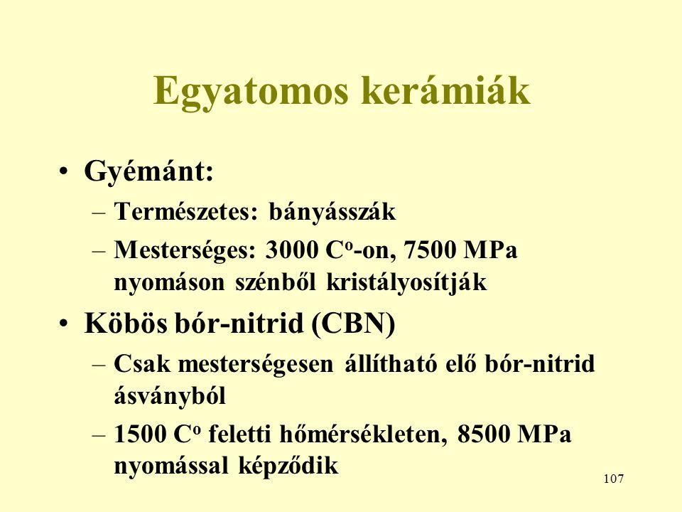 Egyatomos kerámiák Gyémánt: Köbös bór-nitrid (CBN)