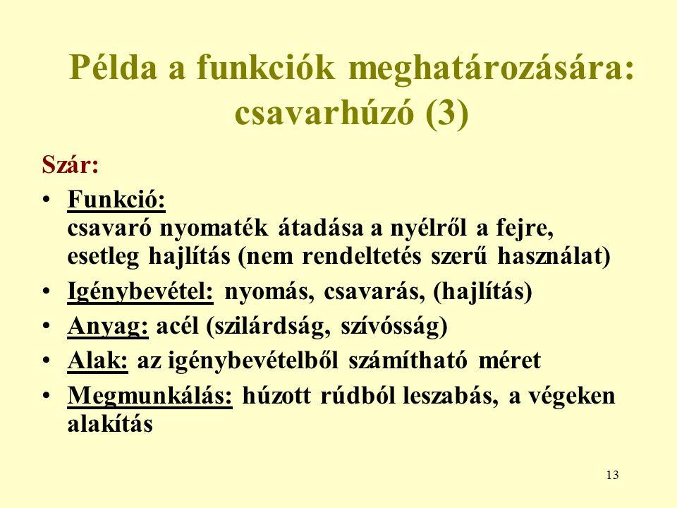 Példa a funkciók meghatározására: csavarhúzó (3)