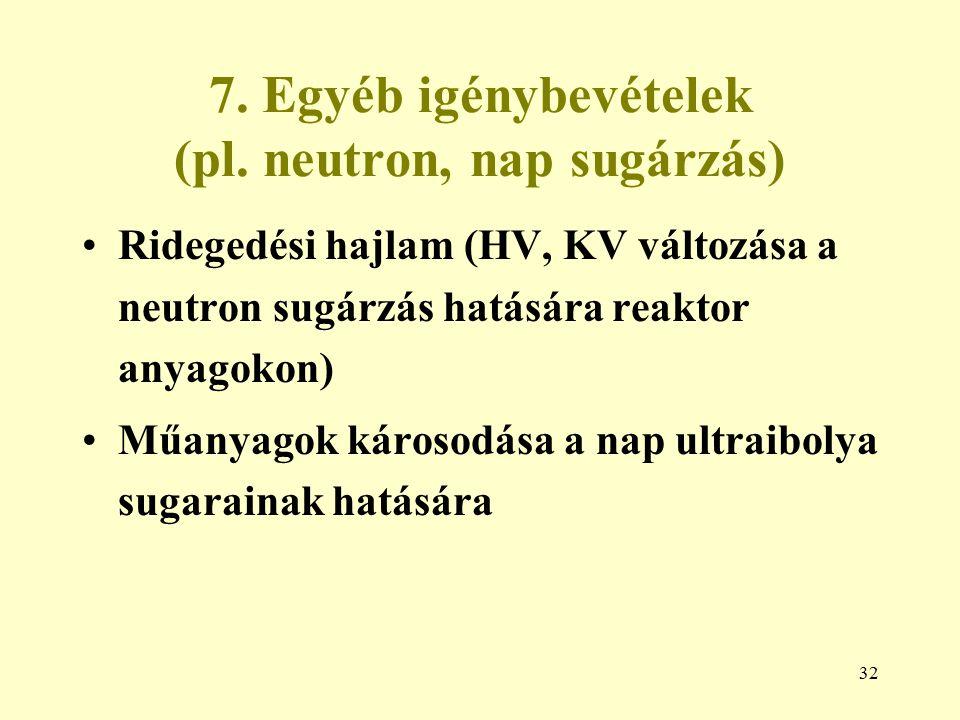 7. Egyéb igénybevételek (pl. neutron, nap sugárzás)