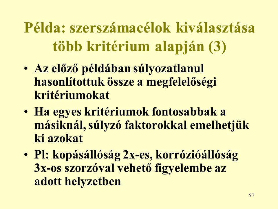 Példa: szerszámacélok kiválasztása több kritérium alapján (3)