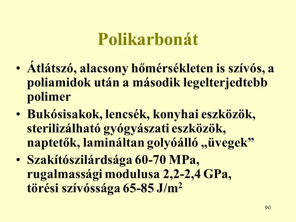 Polikarbonát Átlátszó, alacsony hőmérsékleten is szívós, a poliamidok után a második legelterjedtebb polimer.