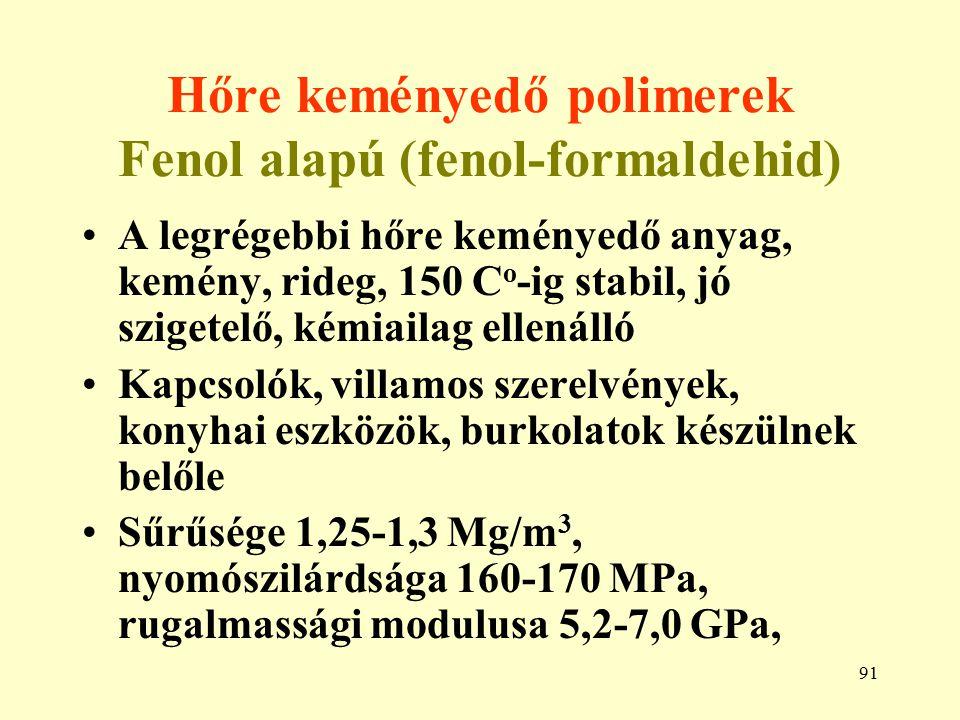 Hőre keményedő polimerek Fenol alapú (fenol-formaldehid)
