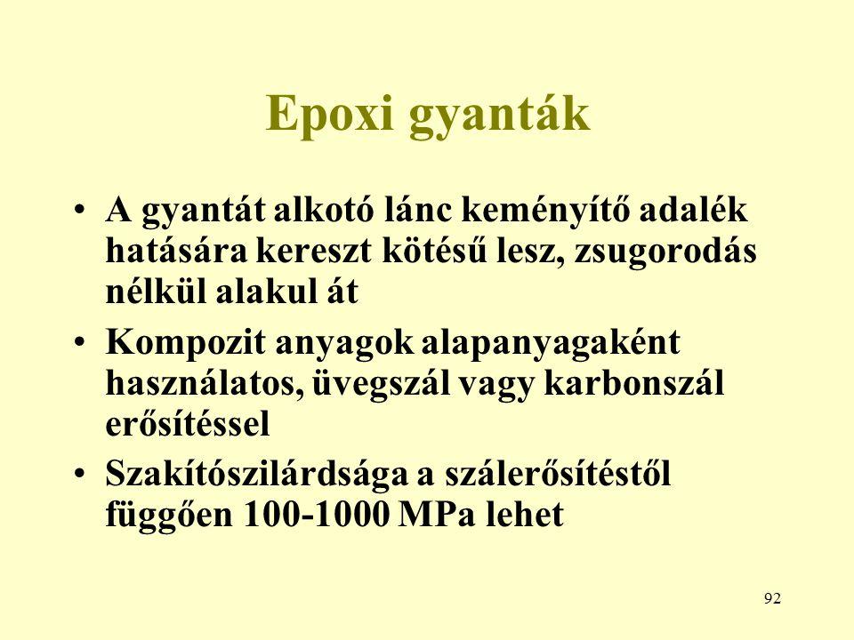 Epoxi gyanták A gyantát alkotó lánc keményítő adalék hatására kereszt kötésű lesz, zsugorodás nélkül alakul át.