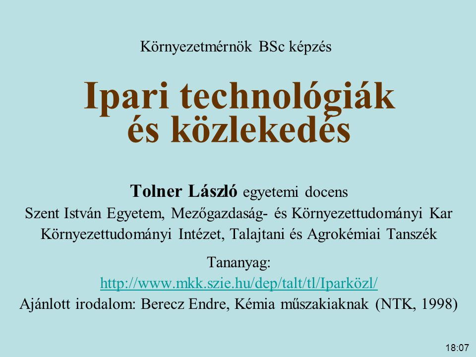 Ipari technológiák és közlekedés