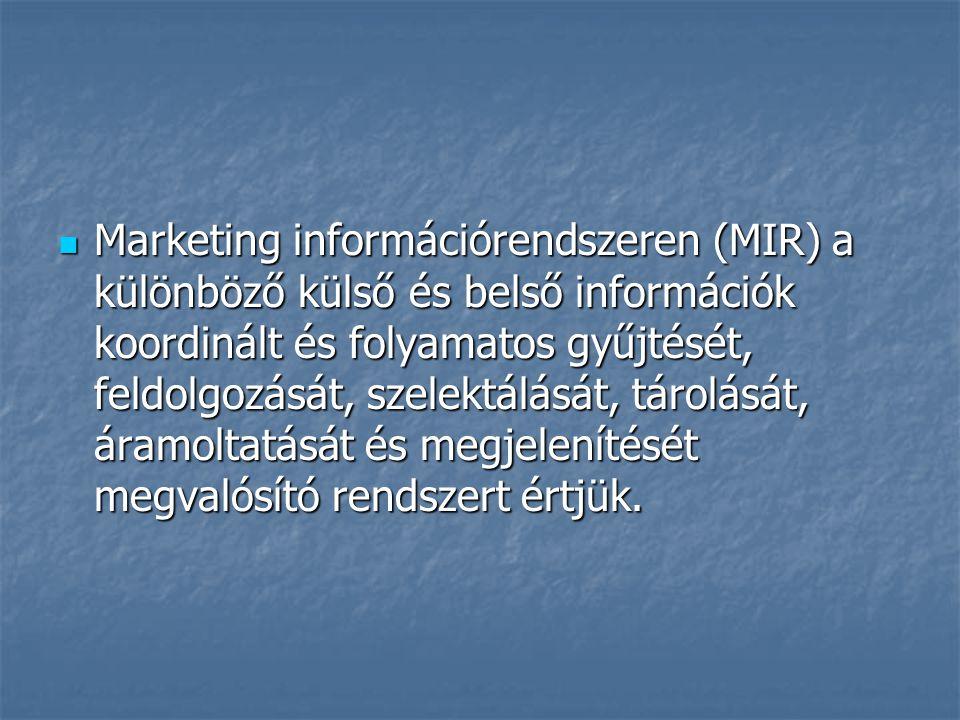 Marketing információrendszeren (MIR) a különböző külső és belső információk koordinált és folyamatos gyűjtését, feldolgozását, szelektálását, tárolását, áramoltatását és megjelenítését megvalósító rendszert értjük.