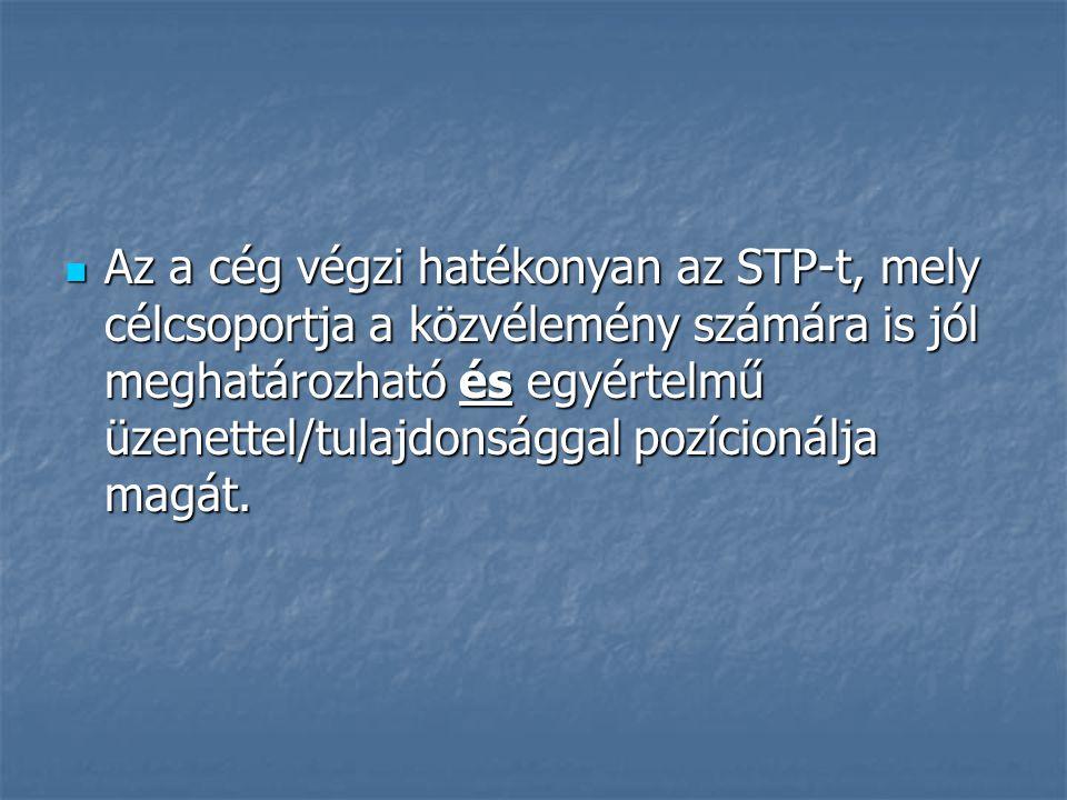Az a cég végzi hatékonyan az STP-t, mely célcsoportja a közvélemény számára is jól meghatározható és egyértelmű üzenettel/tulajdonsággal pozícionálja magát.