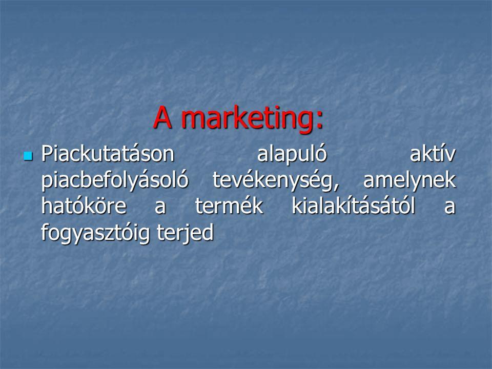 A marketing: Piackutatáson alapuló aktív piacbefolyásoló tevékenység, amelynek hatóköre a termék kialakításától a fogyasztóig terjed.