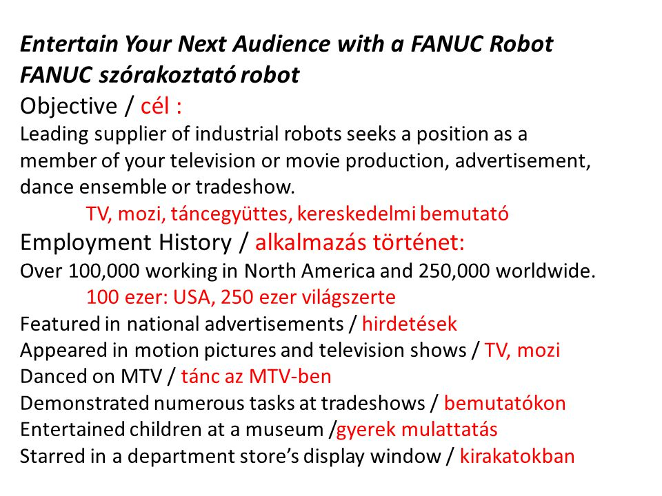 Entertain Your Next Audience with a FANUC Robot