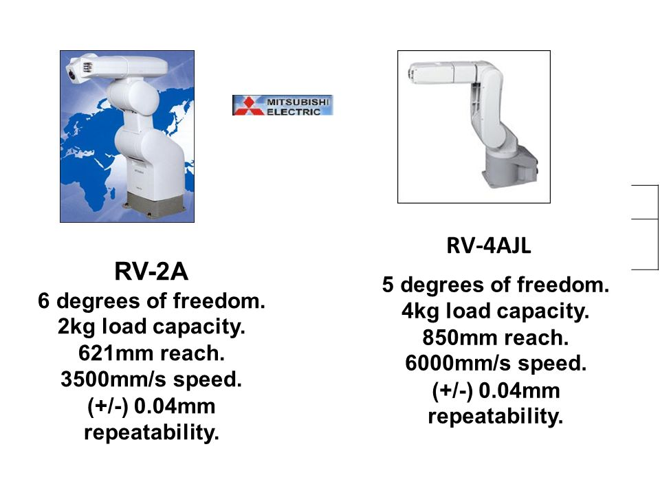 RV-4AJL 5 degrees of freedom. 4kg load capacity. 850mm reach. 6000mm/s speed. (+/-) 0.04mm repeatability.