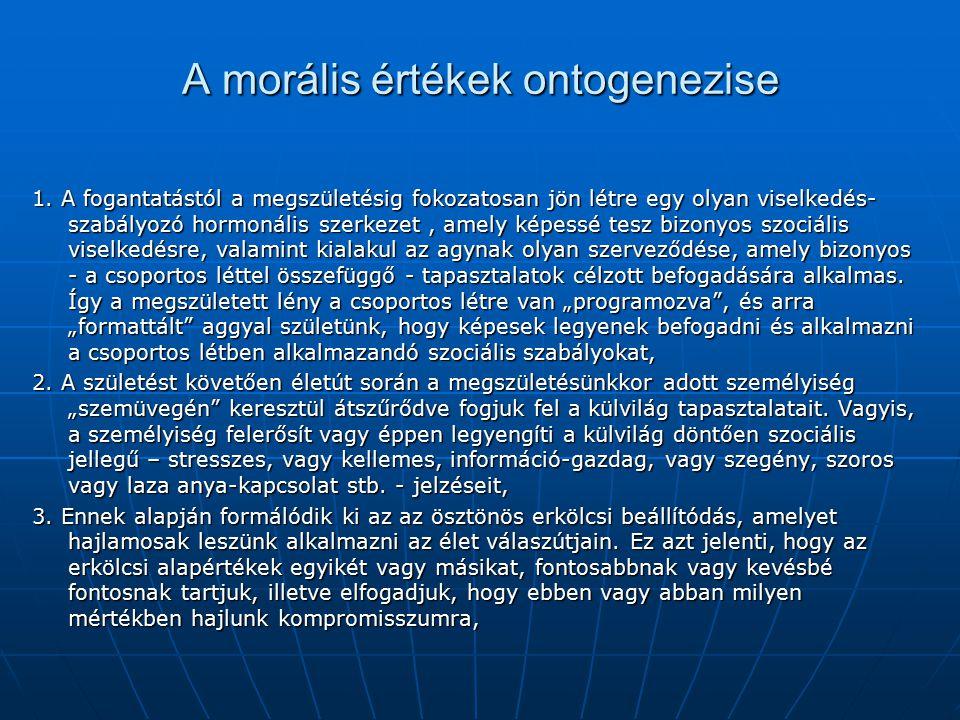 A morális értékek ontogenezise