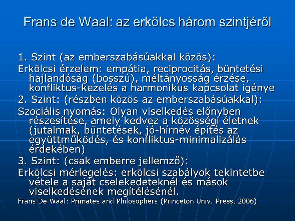 Frans de Waal: az erkölcs három szintjéről