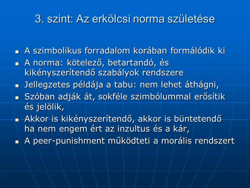 3. szint: Az erkölcsi norma születése
