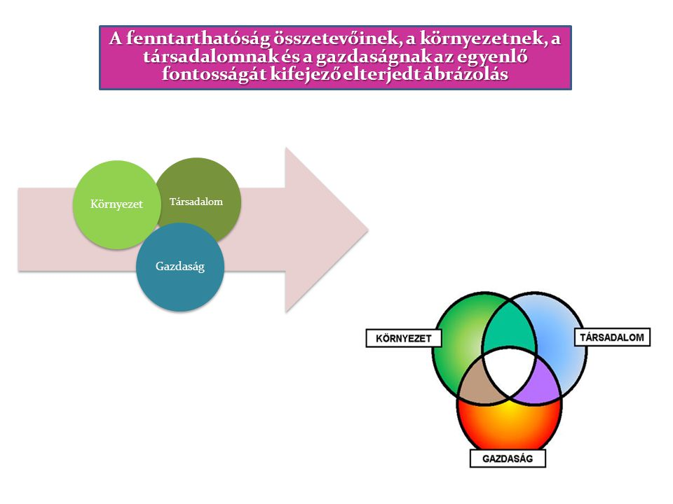 A fenntarthatóság összetevőinek, a környezetnek, a társadalomnak és a gazdaságnak az egyenlő fontosságát kifejező elterjedt ábrázolás