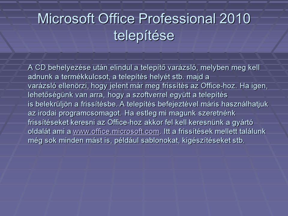 Microsoft Office Professional 2010 telepítése
