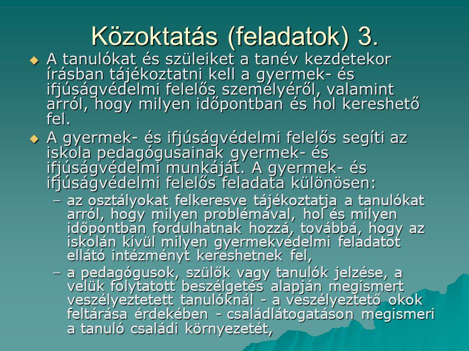 Közoktatás (feladatok) 3.