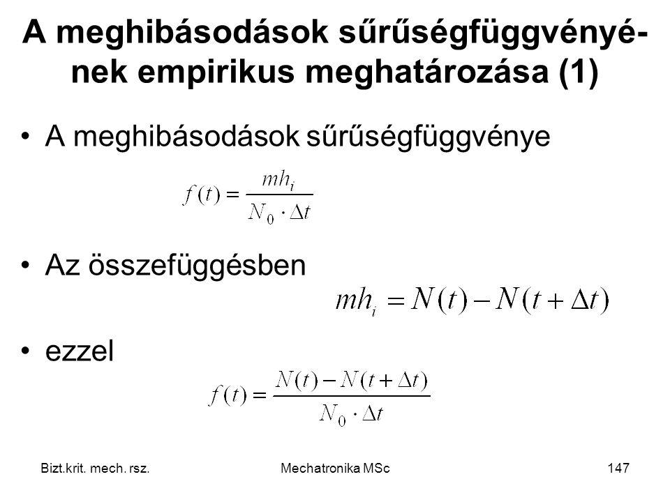 A meghibásodások sűrűségfüggvényé-nek empirikus meghatározása (1)