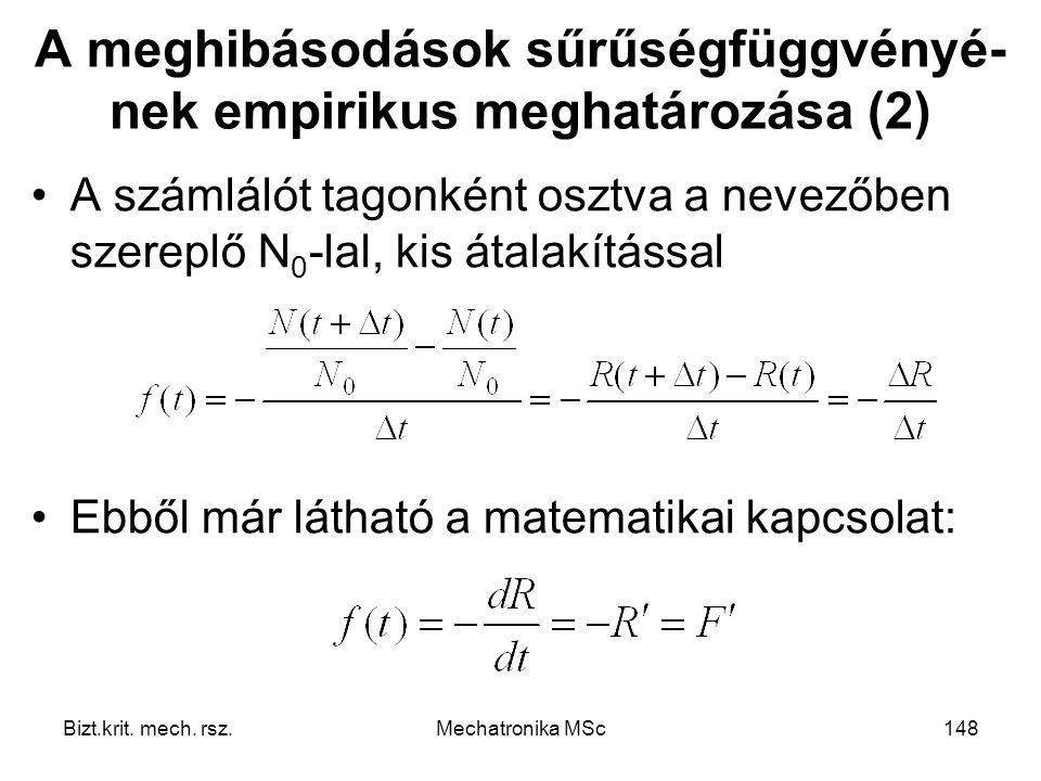 A meghibásodások sűrűségfüggvényé-nek empirikus meghatározása (2)