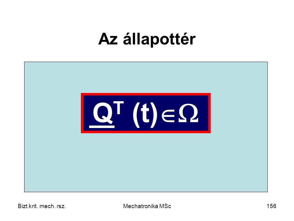 Az állapottér   QT (t) Bizt.krit. mech. rsz. Mechatronika MSc