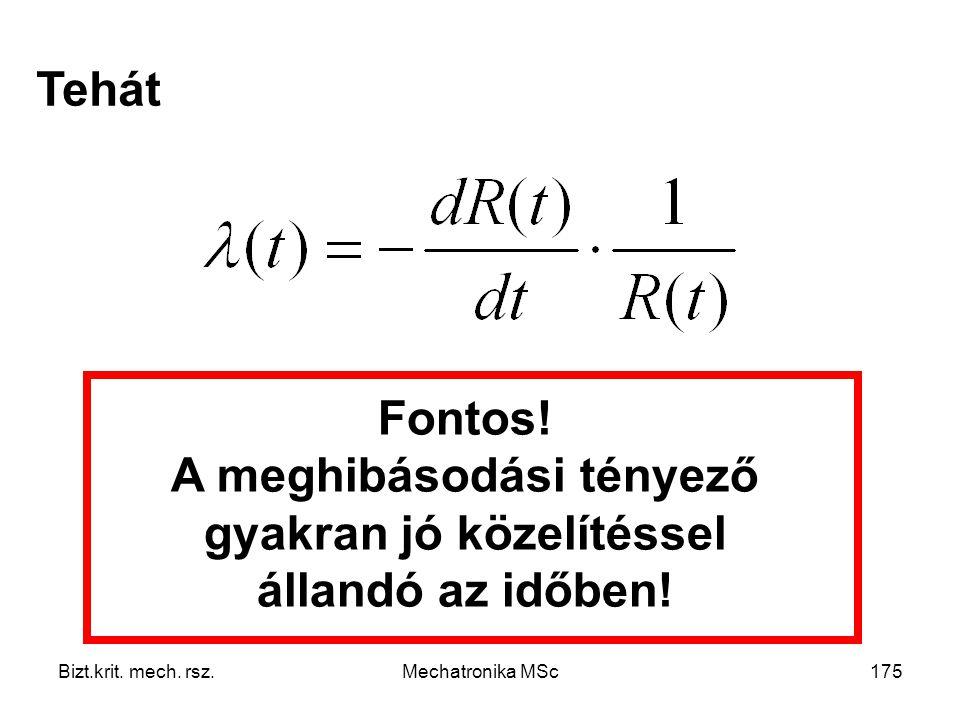 Tehát Fontos! A meghibásodási tényező gyakran jó közelítéssel állandó az időben! Bizt.krit. mech. rsz.