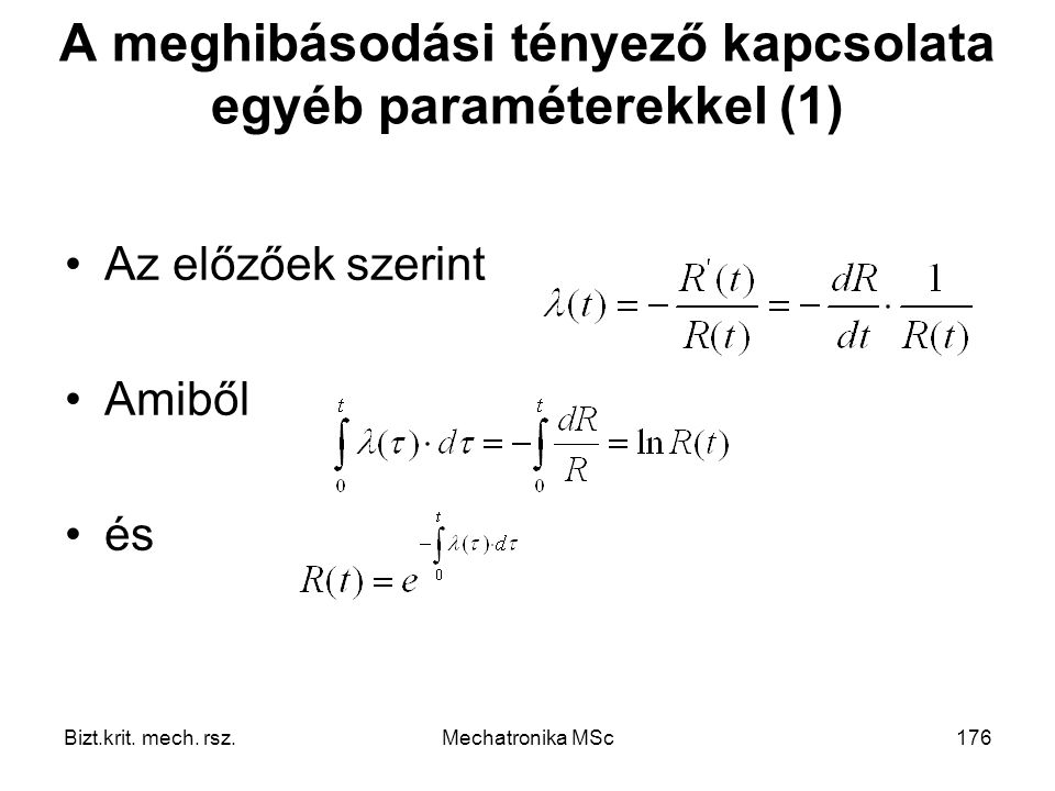 A meghibásodási tényező kapcsolata egyéb paraméterekkel (1)