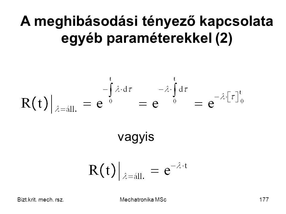 A meghibásodási tényező kapcsolata egyéb paraméterekkel (2)