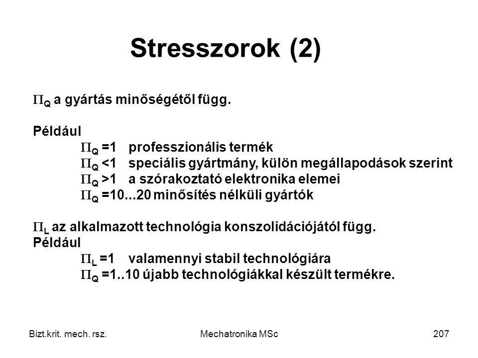 Semmi sem tart örökké Stresszorok (2) Q a gyártás minőségétől függ.