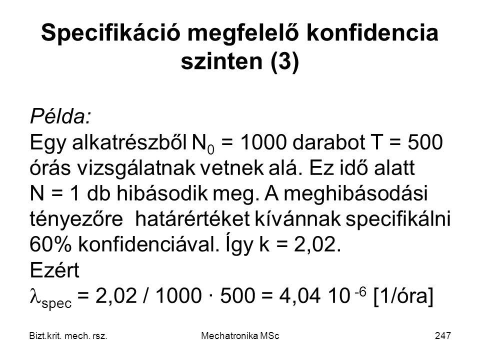 Specifikáció megfelelő konfidencia szinten (3)