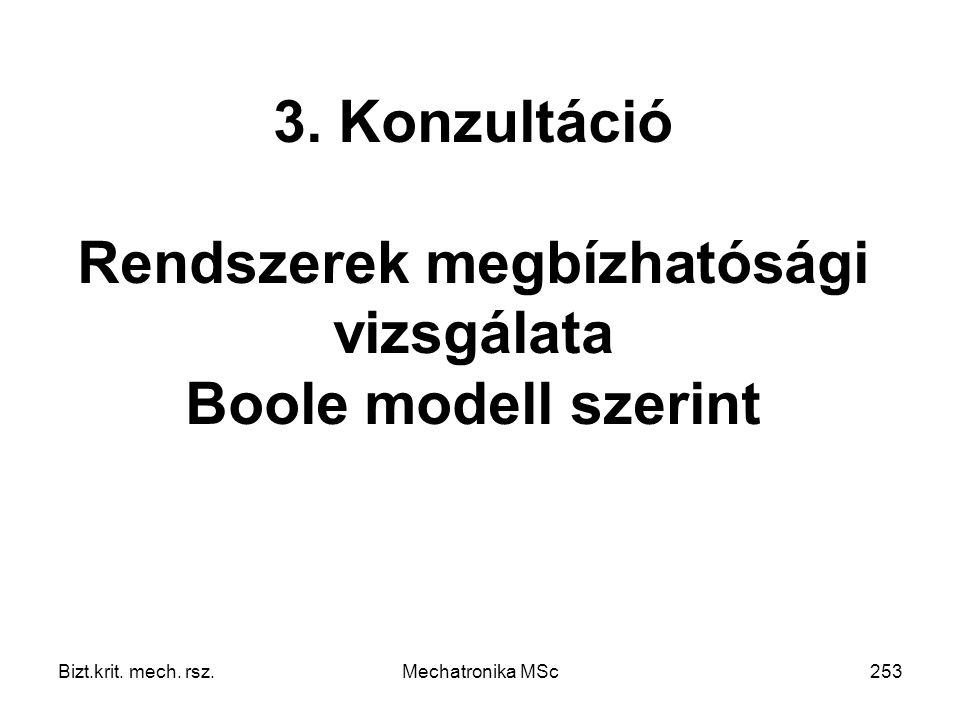 3. Konzultáció Rendszerek megbízhatósági vizsgálata Boole modell szerint