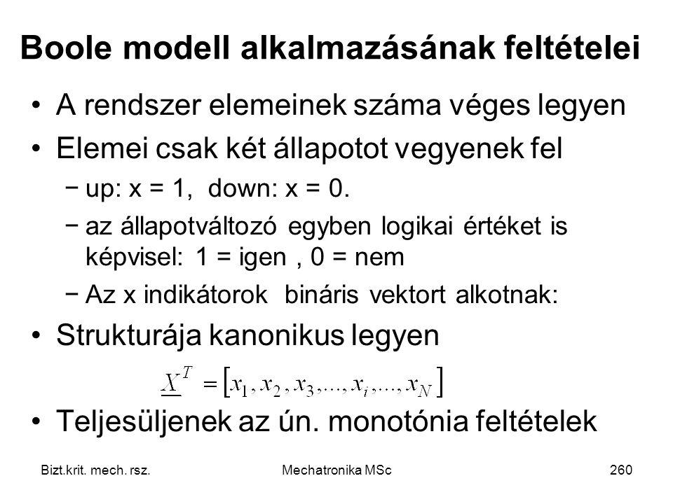 Boole modell alkalmazásának feltételei