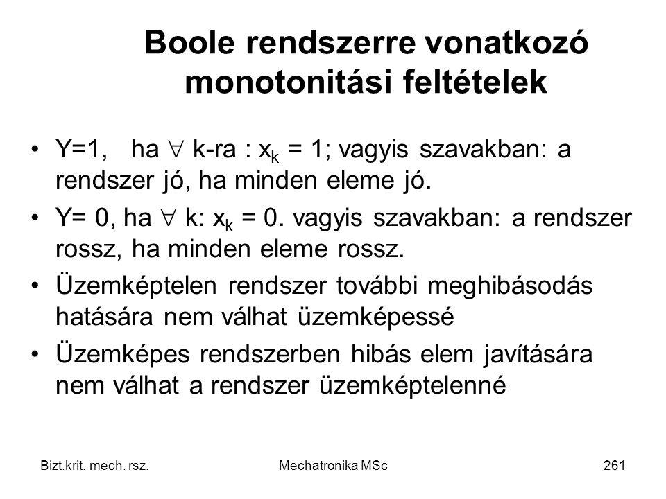 Boole rendszerre vonatkozó monotonitási feltételek