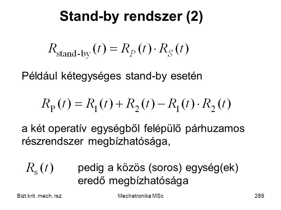 Stand-by rendszer (2) Például kétegységes stand-by esetén. a két operatív egységből felépülő párhuzamos részrendszer megbízhatósága,