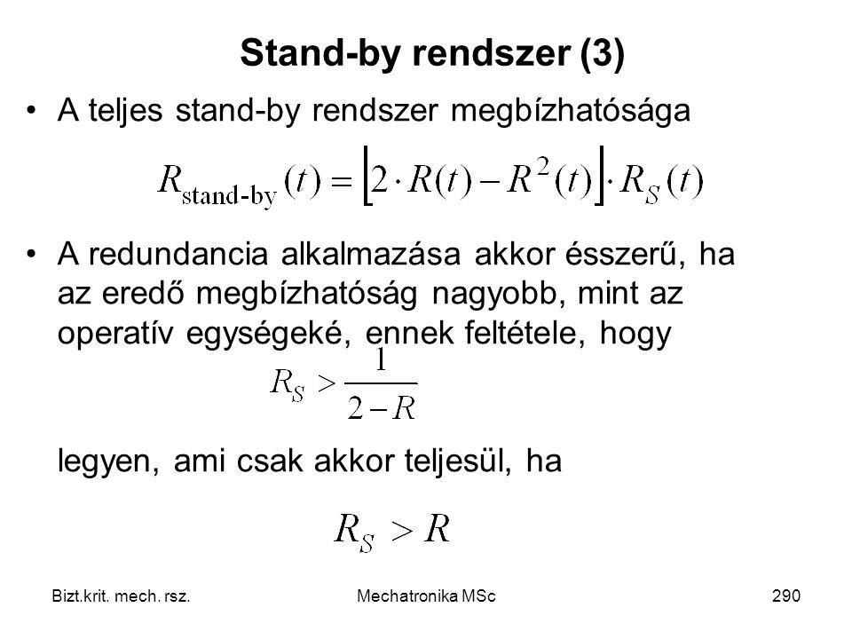 Stand-by rendszer (3) A teljes stand-by rendszer megbízhatósága