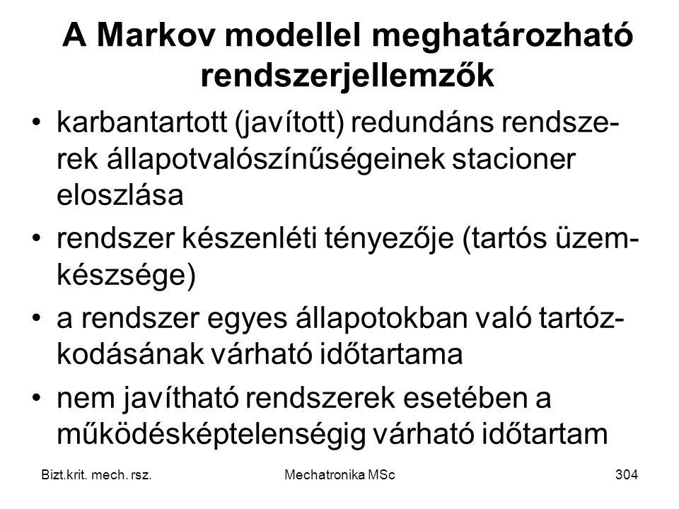A Markov modellel meghatározható rendszerjellemzők