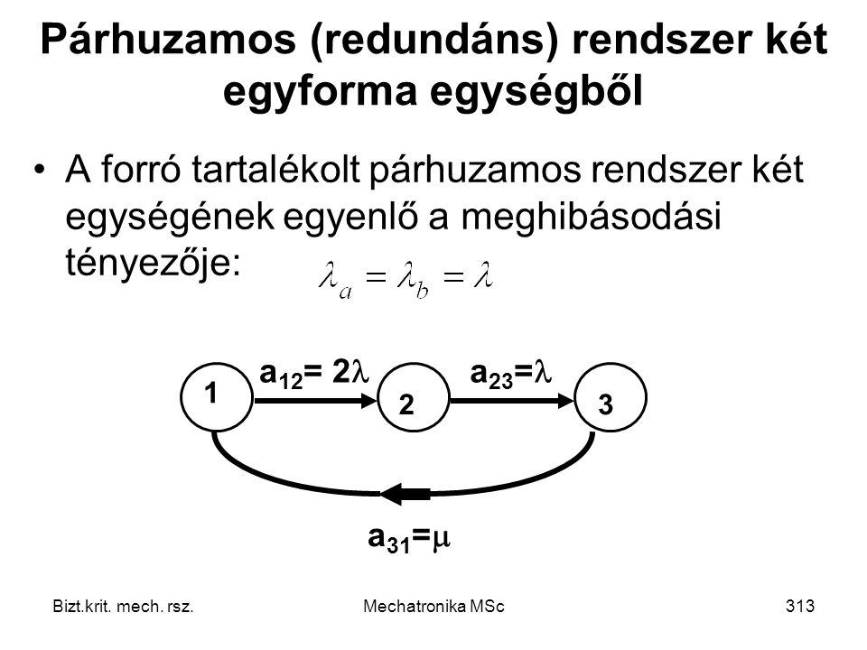 Párhuzamos (redundáns) rendszer két egyforma egységből