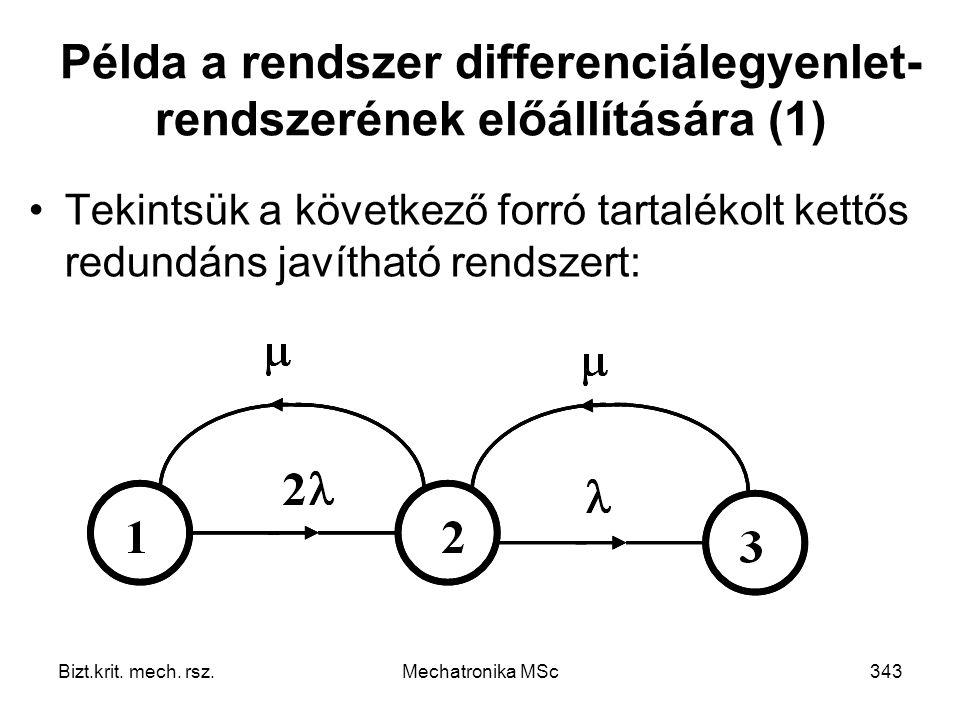 Példa a rendszer differenciálegyenlet-rendszerének előállítására (1)