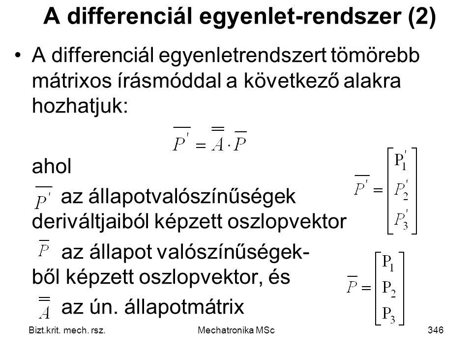 A differenciál egyenlet-rendszer (2)