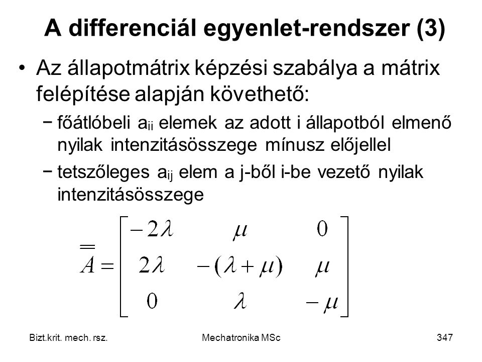 A differenciál egyenlet-rendszer (3)