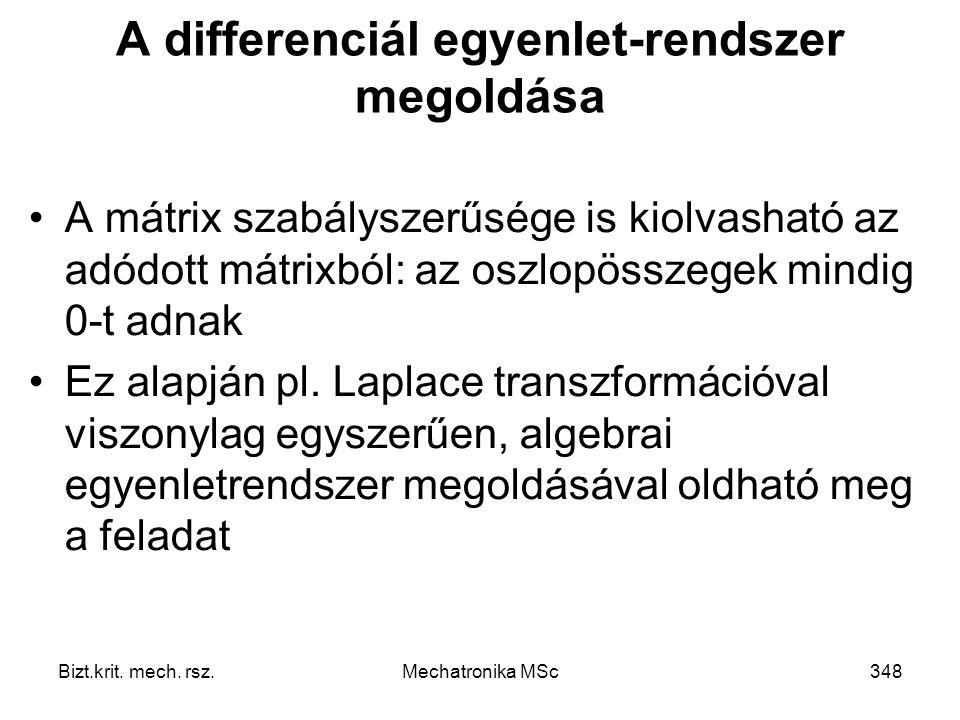 A differenciál egyenlet-rendszer megoldása