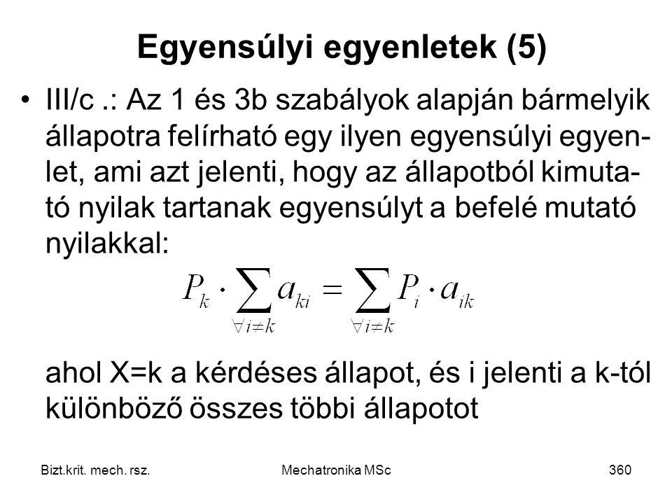 Egyensúlyi egyenletek (5)